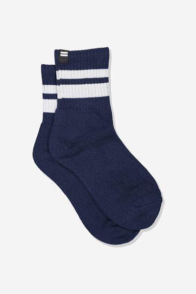 Ribbed Crew Socks, NAVY/WHITE
