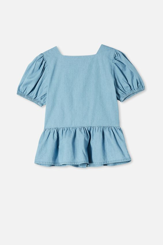 Shiloh Puff Sleeve Top, MID WASH BLUE