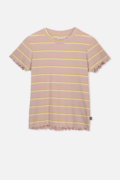 Jayde Ribbed Short Sleeve Top, DUSTY ROSE STRIPE