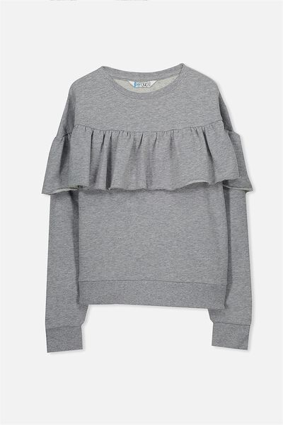 Ruffle Front Crew Neck Top, MID GREY MARLE