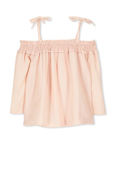 Ruched Off Shoulder Top, SOFT MUSK