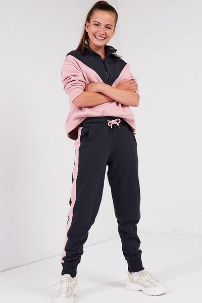 Keeper Girls Track Pant, SHADOW/DUSTY ROSE