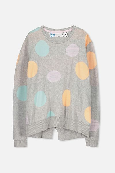 Milly Knit, SOFT GREY MARLE/CIRCLES