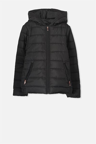 Kitty Puffer Jacket, BLACK
