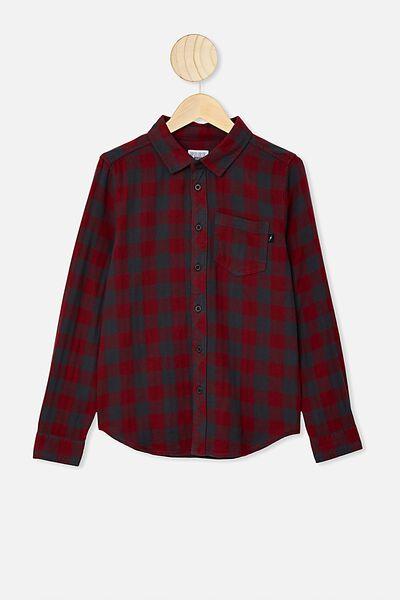 Rocky Shirt, BURGUNDY/CHARCOAL BUFFALO