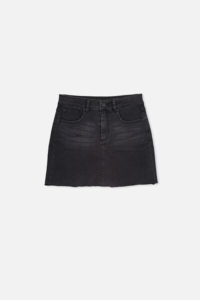 Stretch Denim Skirt, SHADOW