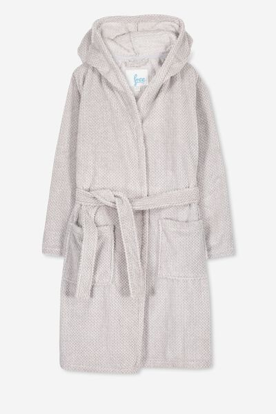 Free Hooded Gown, GREY MARLE
