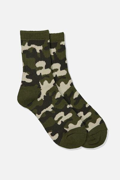 Ribbed Crew Socks, CAMO