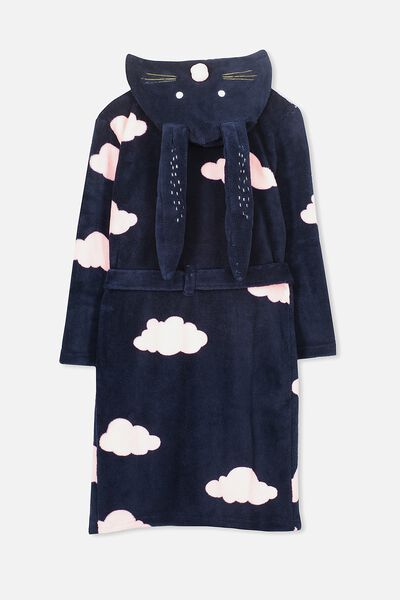 Free Girls Hooded Gown, OBRIEN BLUE/BUNNY CLOUDS