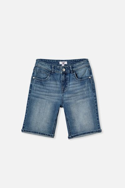 Boys Bermuda Dnm Short, MID BLUE WASH