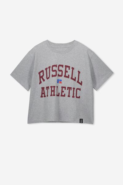 Girls Russell Tee, LCN RUS/GREY MARLE ARCH