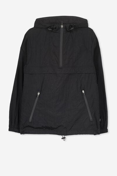 Unisex Windbreaker Jacket, BLACK/PRINT/TAPE