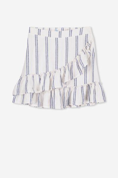 Winnie Ruffle Skirt, WHITE/DOUBLE NAVY