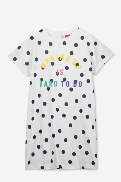 Martha Ss Nightie, WHITE/FREE NAVY SPOT