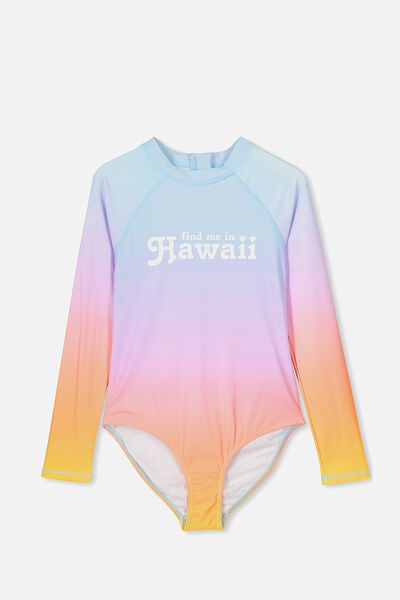 Long Sleeve One Piece, OMBRE/HAWAII