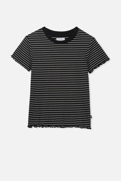 Jayde Ribbed Short Sleeve Top, BLACK/VANILLA STRIPE