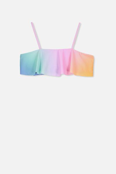 Ruffle Bandeau Bikini Top, OMBRE POM POM