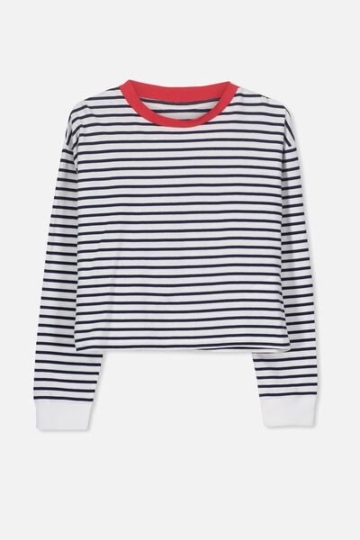 Girls Drop Shoulder Ls Tee, NEW PEACOAT/WHITE STRIPE