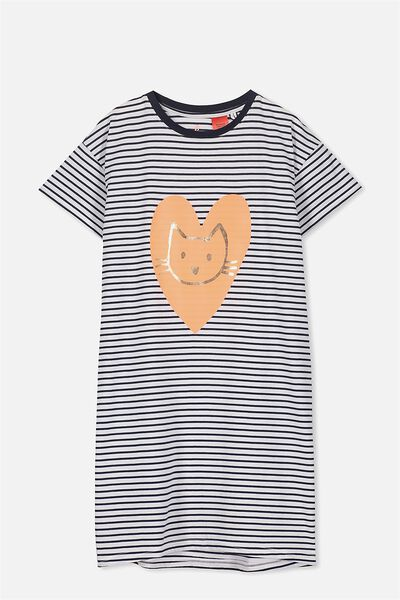 Martha Ss Nightie, OBRIEN BLUE/STRIPE CAT