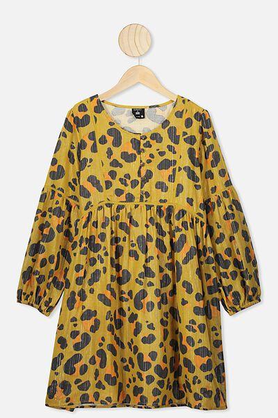 Golda Long Sleeve Dress, LCN KIP/LEOPARD