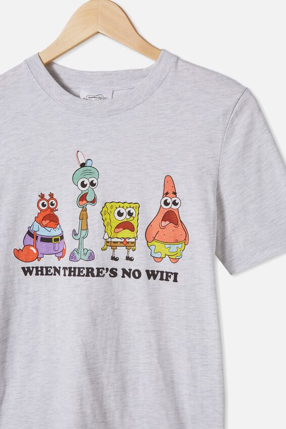 Co-Lab Free Tee, LCN NIC SUMMER GREY MARLE SPONGEBOB NO WIFI
