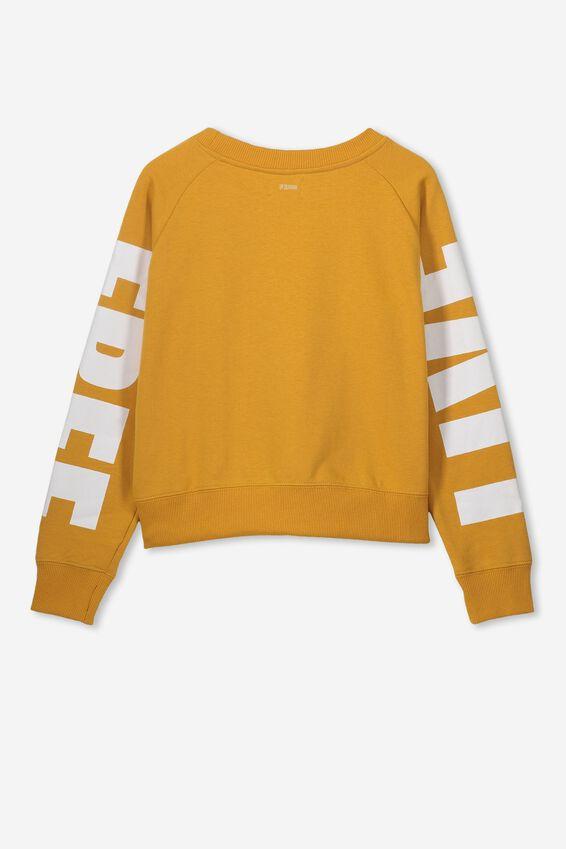 Boxy Crew Neck Jumper, GOLD GLOW/WHITE FREE