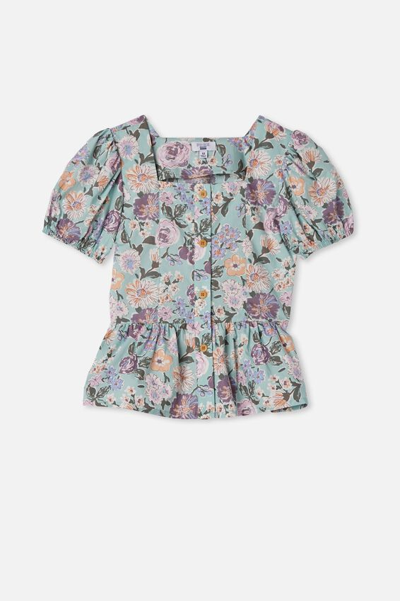 Shiloh Puff Sleeve Top, DUCK EGG/PAINTERLY FLORAL