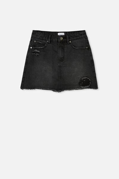 Florence Denim Skirt, BLACK WASH/RIPS