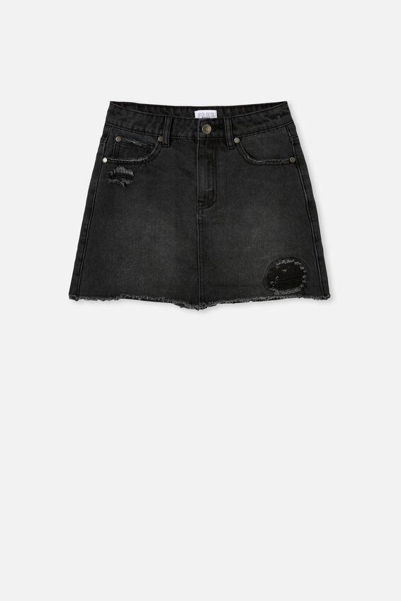 Florence Denim Skirt, BLACK WASH/RIPS