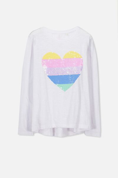 Charlie Long Sleeve Tee, WHITE/SEQUIN STRIPE HEART