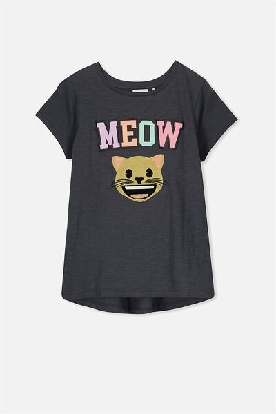 Lucy Licence Tee, GRAPHITE/MEOW CAT