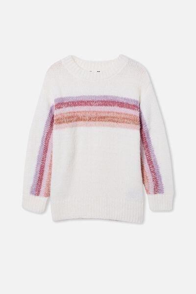Rani Knit Jumper, CREAM/BERRY STRIPE