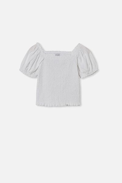 Kate Puff Sleeve Top, WHITE