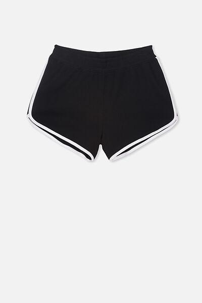 Girls Knit Jogger Short, BLACK/WHITE BIND