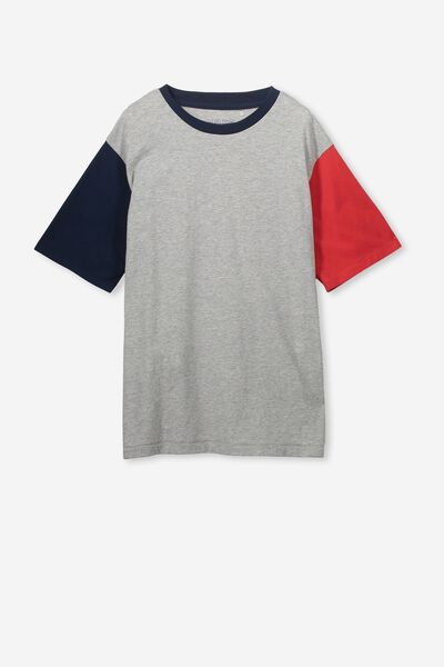 Oversized Tee, GREY MARLE/NAVY RED BLOCK