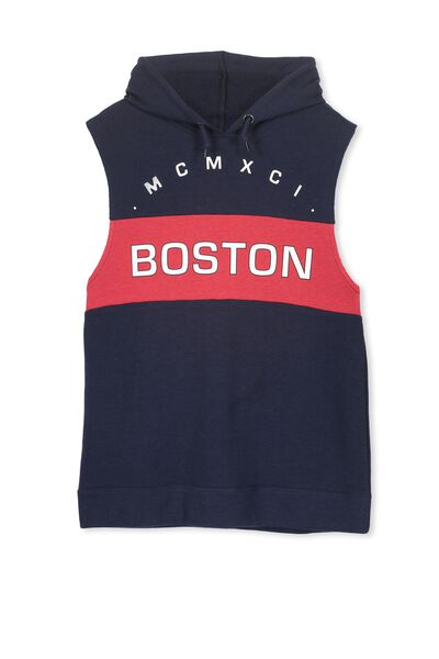 James Hooded Sleeveless Fleece, WASHED NAVY/BOSTON