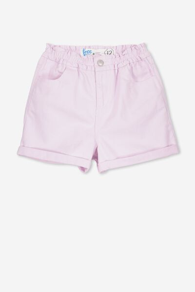 Paperbag Denim Short, MISTY VIOLET