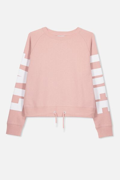 Boxy Crew Neck Jumper, DUSTY ROSE/WHITE FREE