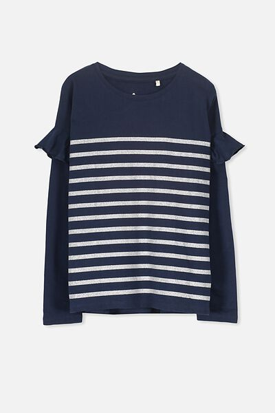 Suzie Long Sleeve Top, OBRIEN BLUE/SILVER