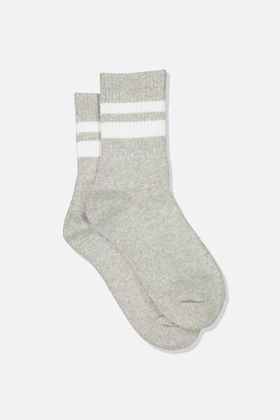 Ribbed Crew Socks, S BANDS GREY MARLE