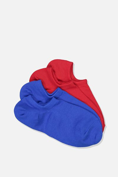 2 Pack Low Cut Socks, BLUE AND RED