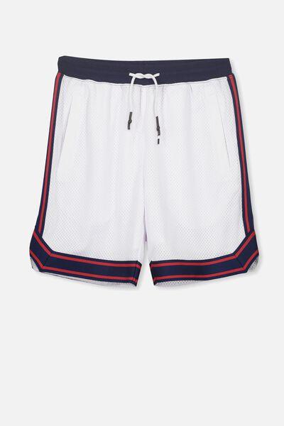 Basketball Short, WHITE/NAVY TAPE