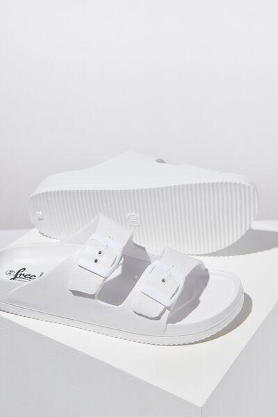 Free Twin Strap Sandal, WHITE
