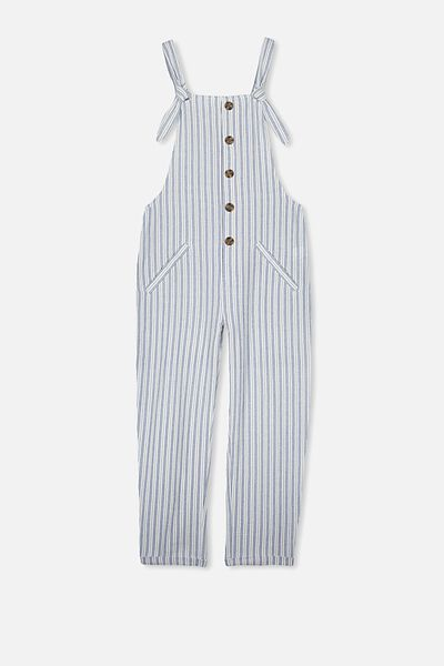 Button Front Jumpsuit, DOUBLE DENIM STRIPE