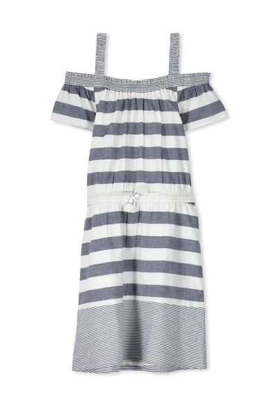 Sienna Dress, BLUE AND WHITE STRIPE
