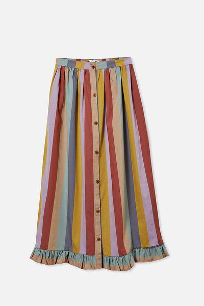 Yasmin Midi Skirt, AUTUMN RAINBOW STRIPE