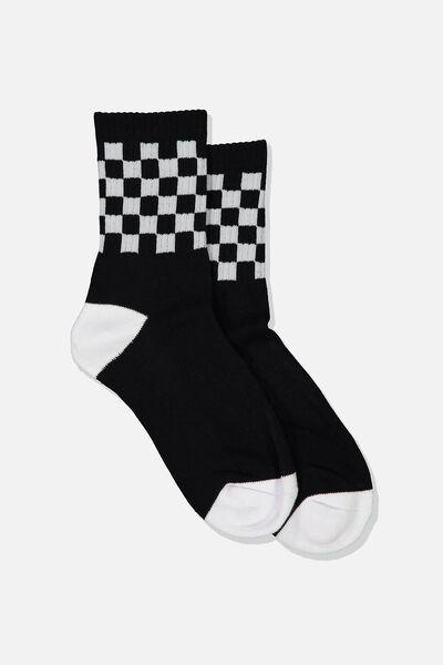 Ribbed Crew Socks, CHECK BLACK