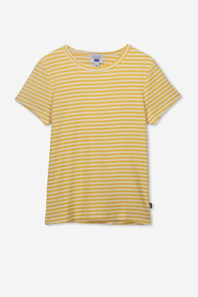 Jayde Ribbed Short Sleeve Top, SNOW WHITE/SOFT YELLOW STRIPE