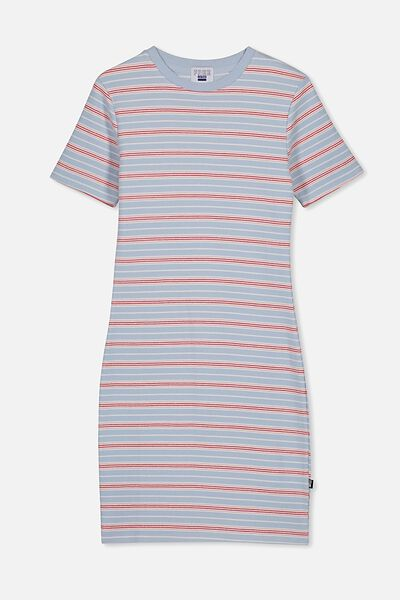 Rib T-Shirt Dress, LT SURF BLUE/STRIPE