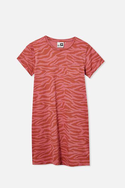 Toni Tshirt Sleeve Dress, VERY BERRY/TIGER STRIPE